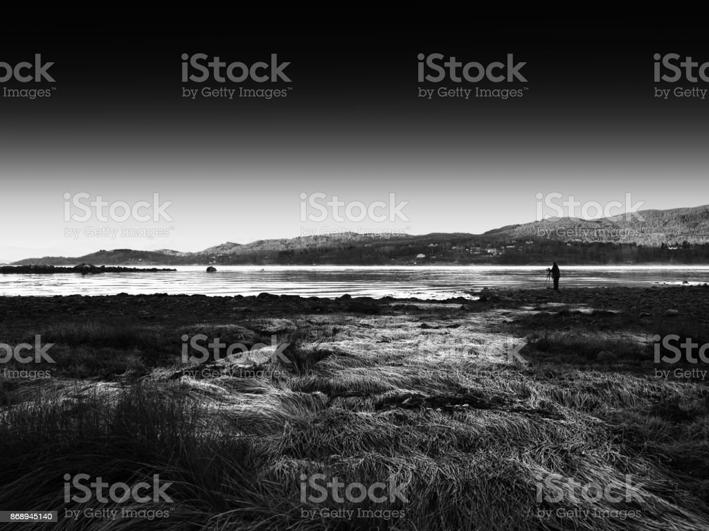Shooting beauty of autumn Norway Lofoten islands stock photo