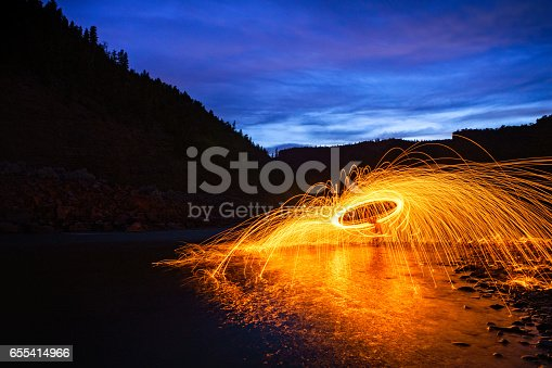 Shooting Circles of Sparks with Water Reflections - Landscape with spinning steel wool.