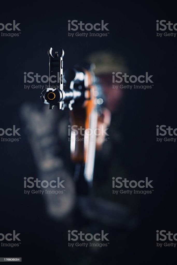 Shooting from the dark royalty-free stock photo