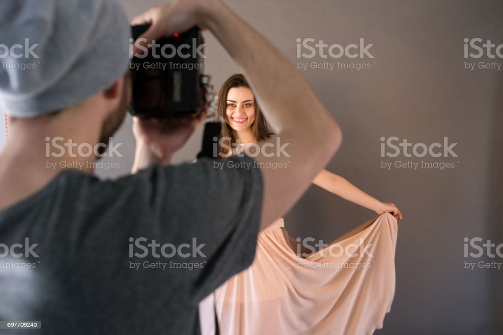 Shooting in prom dress. stock photo