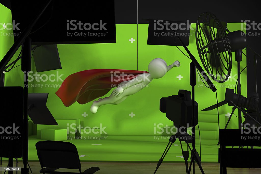 shooting in studio with a green background stock photo