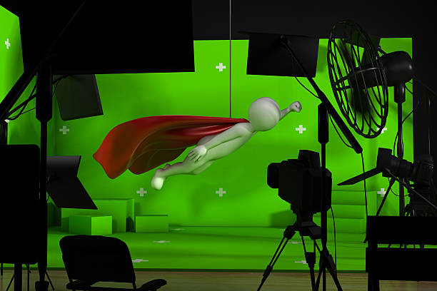 shooting in studio with a green background - green screen background stock photos and pictures