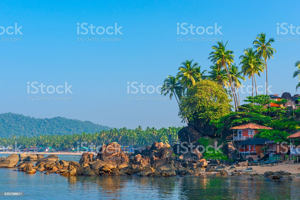 Shooting in the morning empty tropical beach stock photo