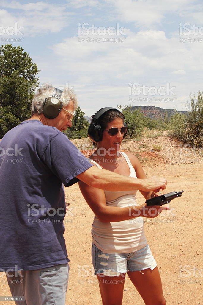Shooting Range Gun Instruction royalty-free stock photo