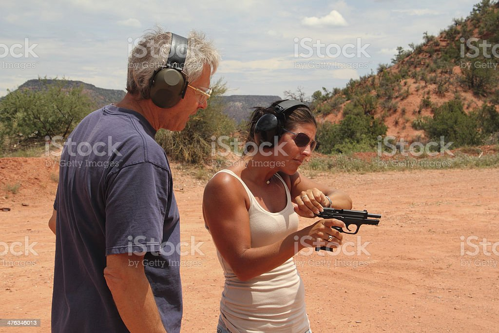 Shooting Range Gun Instruction royalty-free stock photo