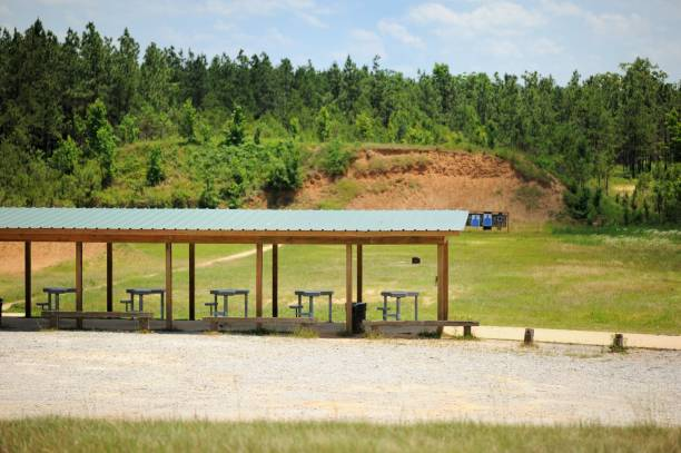 Shooting range in woods stock photo