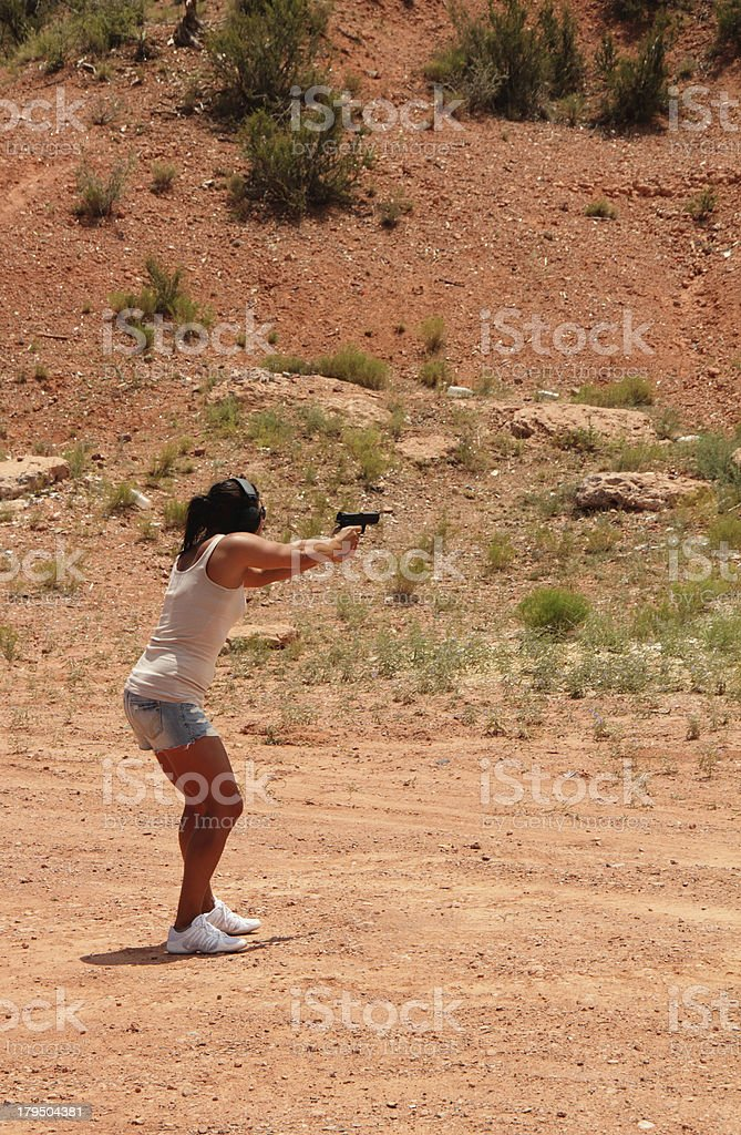 Shooting Range Woman Aiming Gun royalty-free stock photo