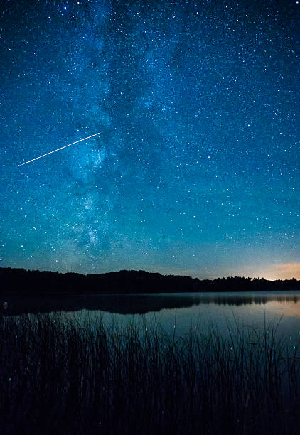 shooting star and milky way galaxy over lake - shooting stars stock photos and pictures