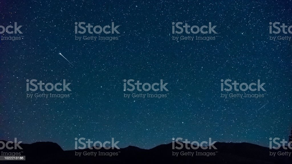 Shooting star near the Big Dipper , with Ursa Minor and north star...