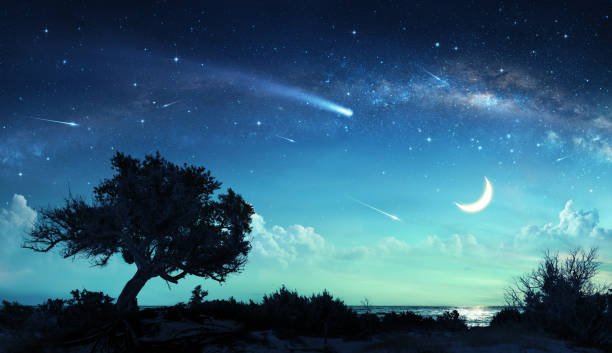 shooting stars in fantasy landscape at night - shooting stars stock photos and pictures