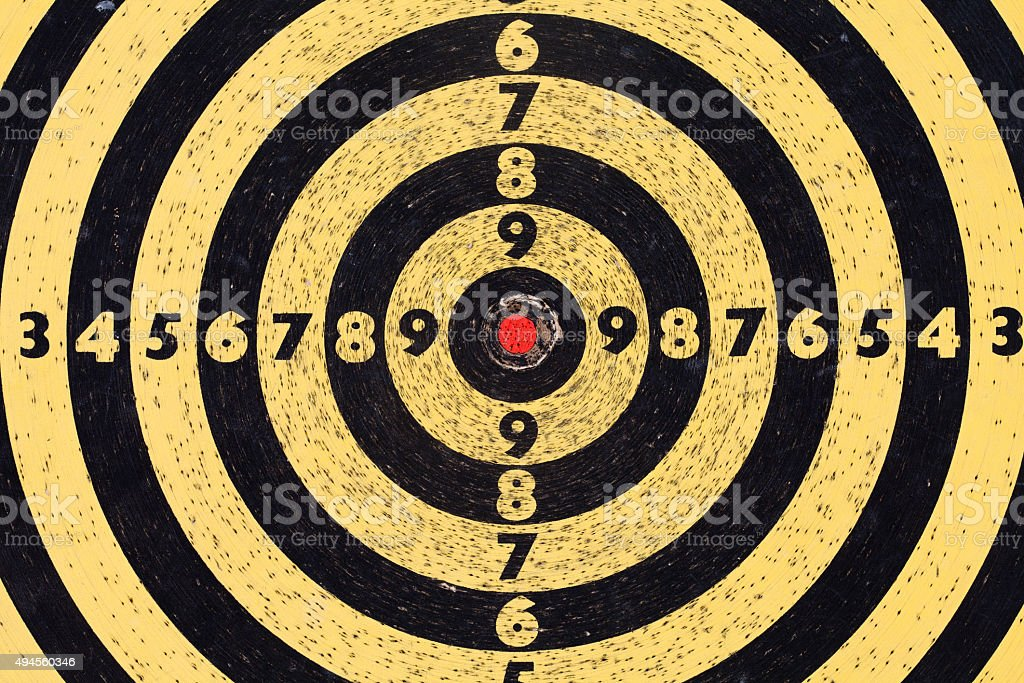 Shooting target. Aim with numbers. Red center. macro view stock photo