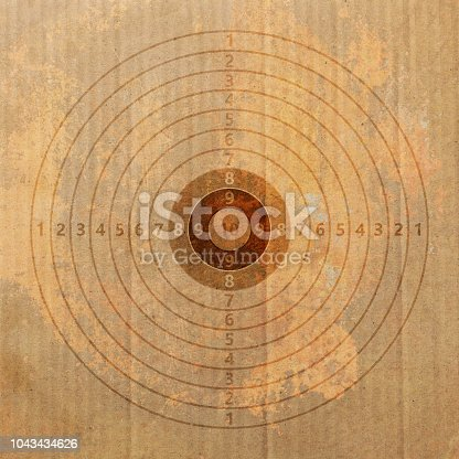 1048647890 istock photo Shooting target on recycling carton paper. 3d illustration 1043434626