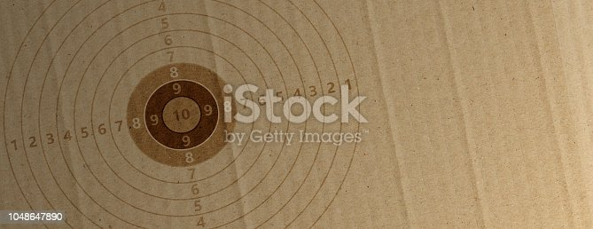 istock Shooting target on recycling carton paper, banner, copy space. 3d illustration 1048647890