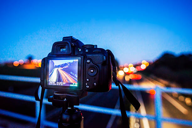 Shooting the traffic lights stock photo