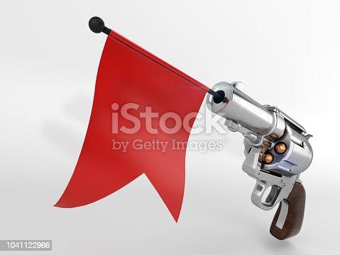 istock Shooting toy gun pistol with flag mock-up 1041122966