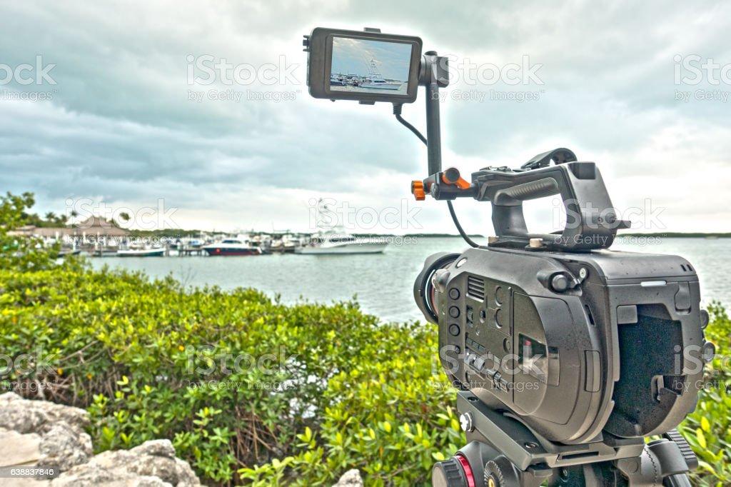 Shooting Video Camera Timelapse Sunny Florida Keys stock photo