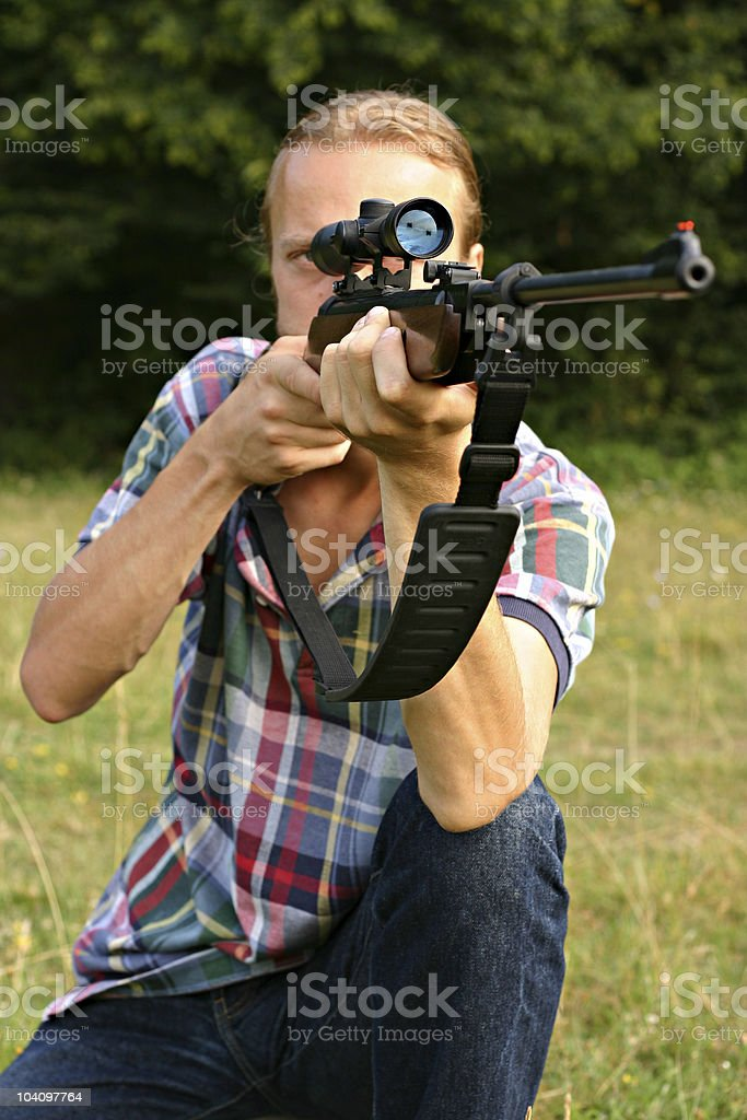 Shooting with Air Rifle royalty-free stock photo