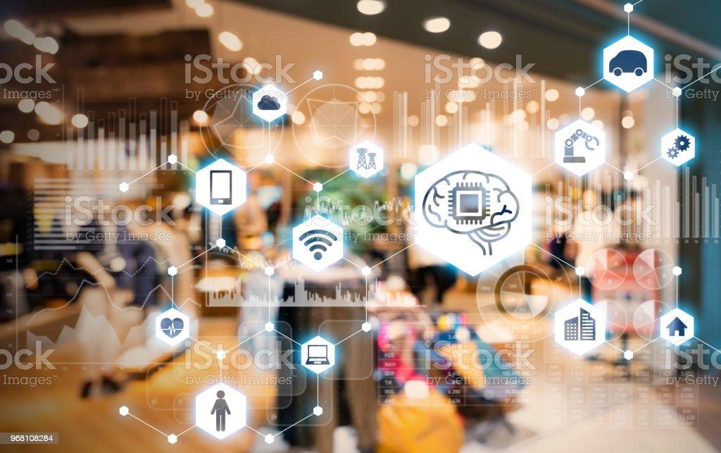 Butik och AI. e-handel koncept. bildbanksfoto