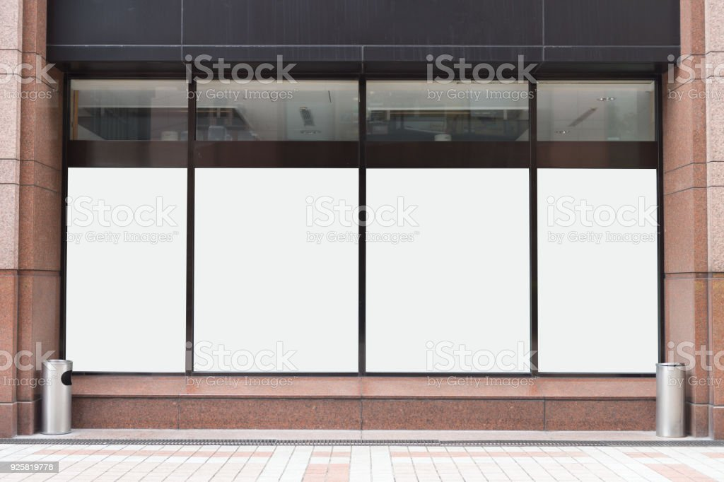Shop Boutique Store Front with Big Window and Place for Name stock photo