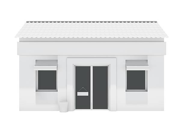 comprar construção isolado no fundo branco - facade shop 3d - fotografias e filmes do acervo