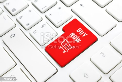 istock Shop buy now business concept. Shopping cart key on keyboard 176192694