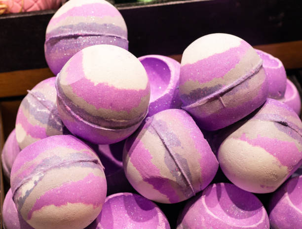 Shop cosmetic handmade bombs and bubble bath different colors stock photo