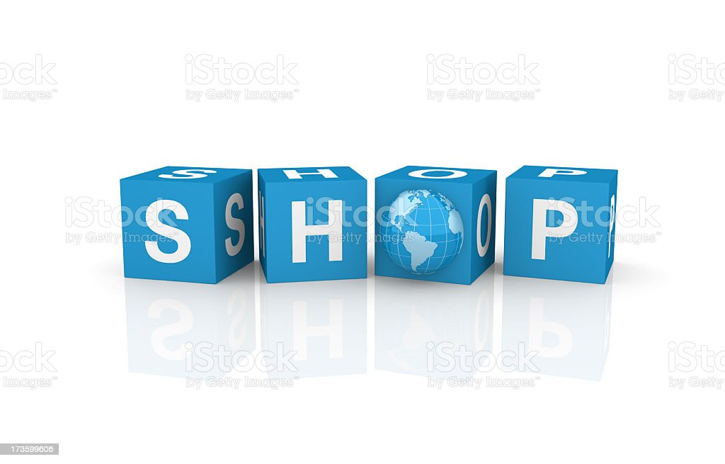 Shop Cubes with Earth Globe royalty-free stock photo