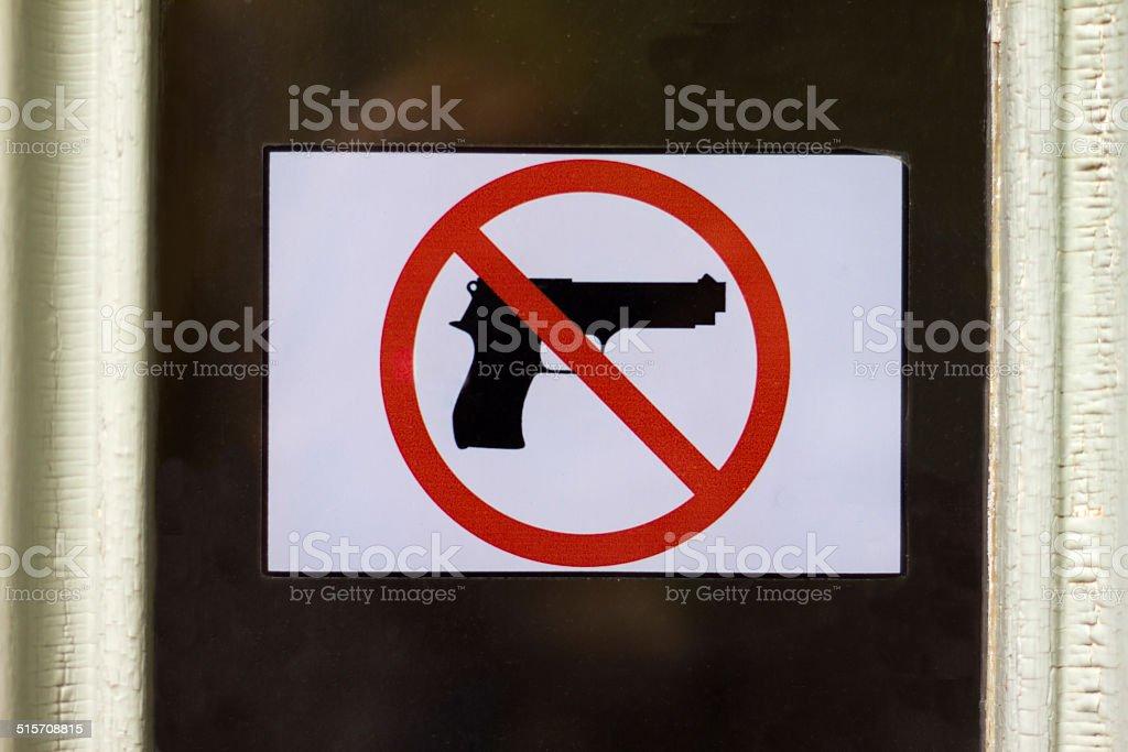Shop Door With 'Gun-Free Zone' Symbol stock photo