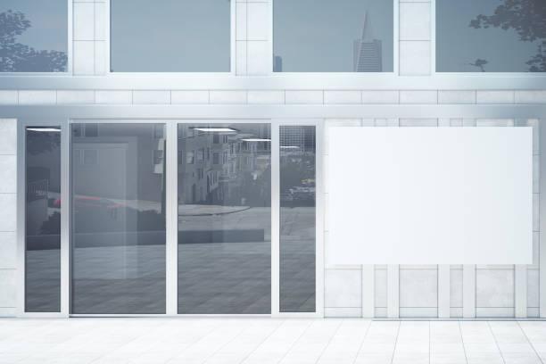 shop exterior with poster - facade shop 3d - fotografias e filmes do acervo