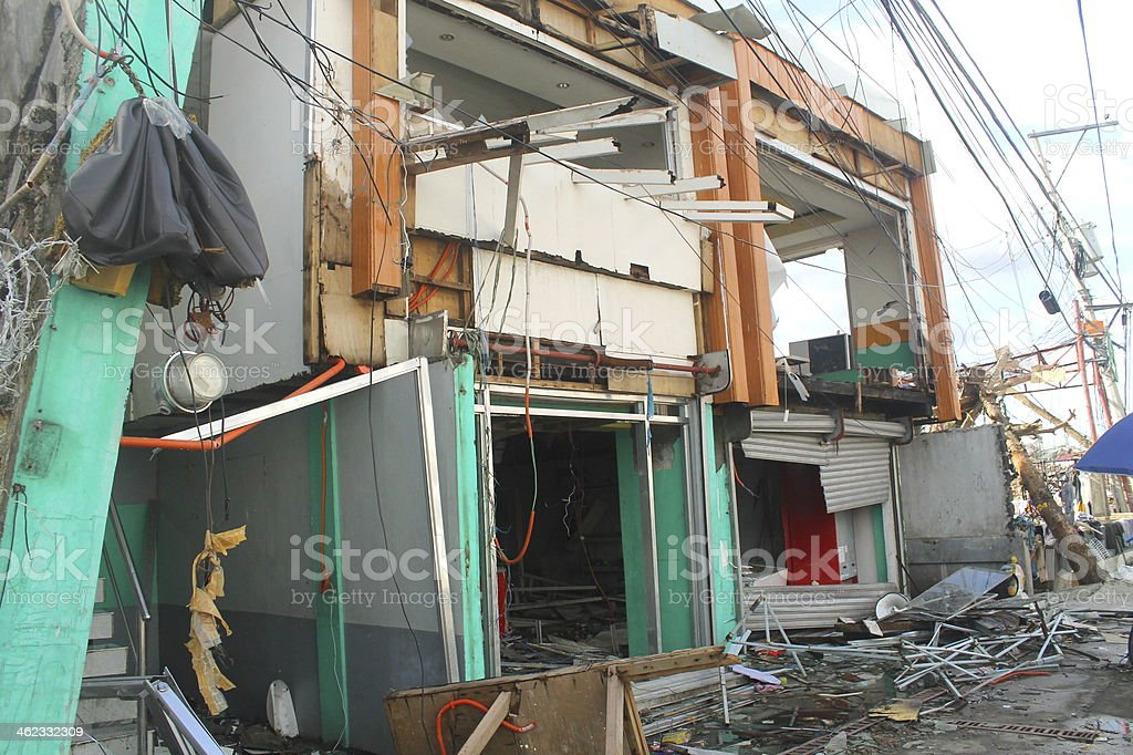 Shop Flooded and Looted stock photo