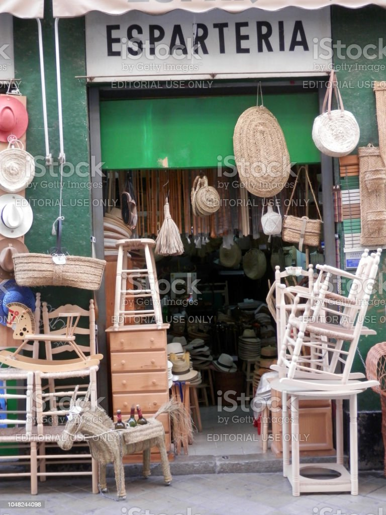 Shop front selling handmade products in Arab quarter stock photo