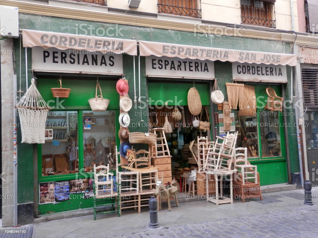 Shop front selling handmade products in Old quarter stock photo