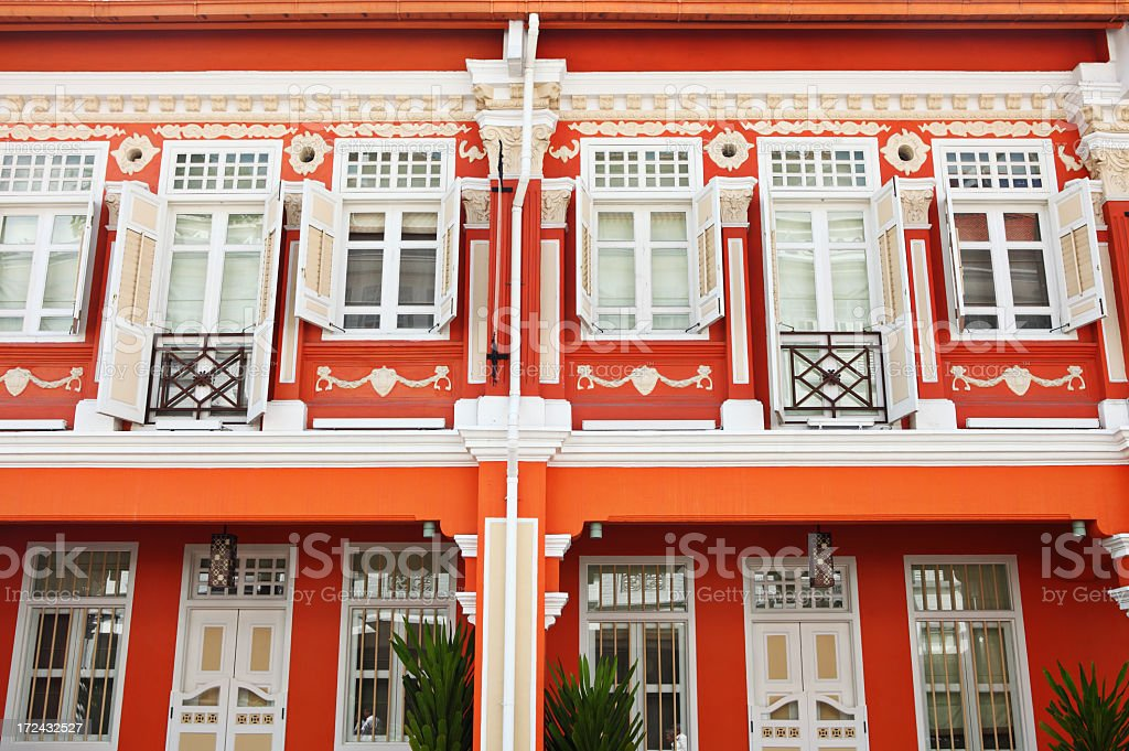 Shop house in Singapore royalty-free stock photo