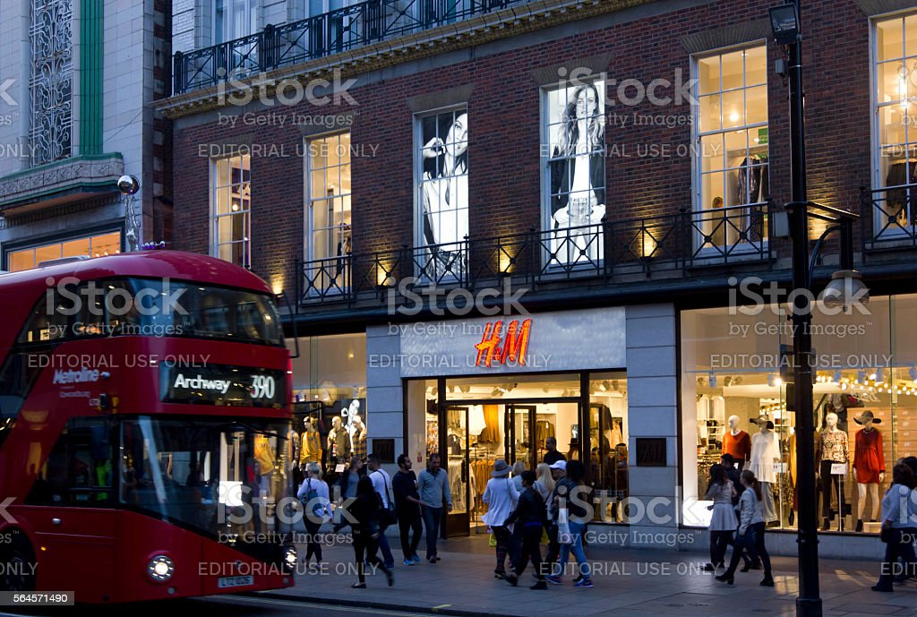 H&M shop in Oxford Street in London stock photo