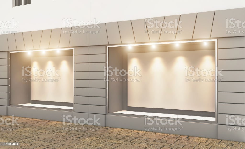 Shop in the old house. 3d rendering. Lights in the window. Blank plate stock photo