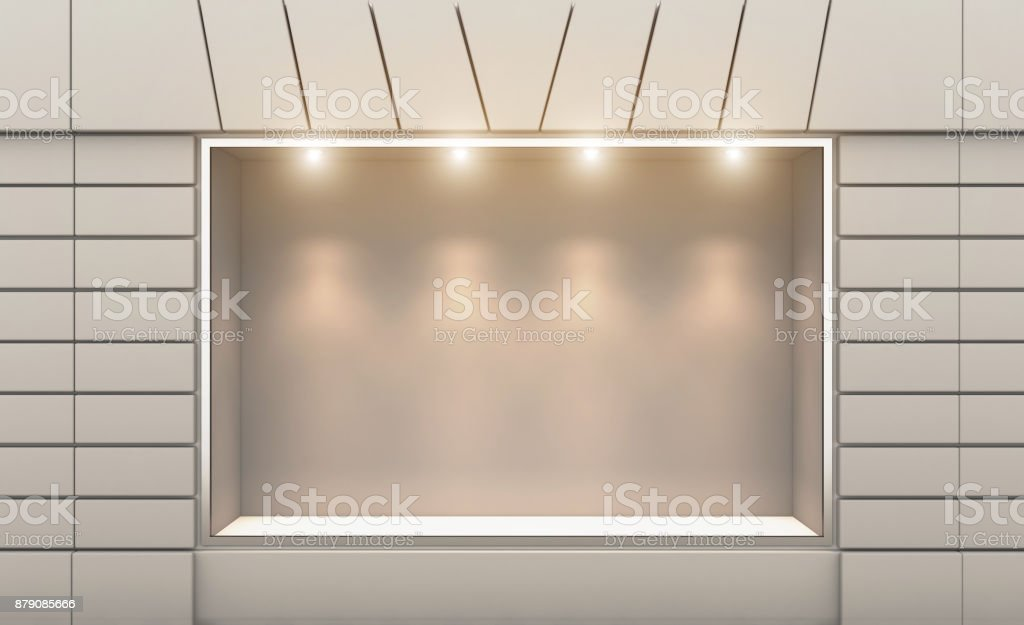 Shop in the old house. 3d rendering. Lights in the window. stock photo