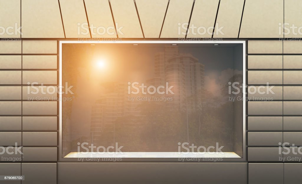 Shop in the old house. 3d rendering. Sunset. stock photo