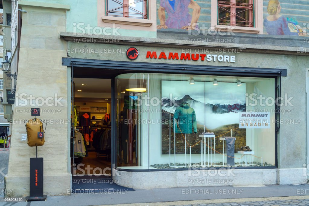 Shop of climbing and trekking clothes Mammut stock photo