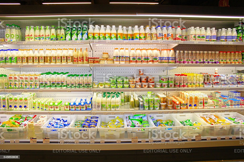 shop of dairy products in Chernihiv, Ukraine stock photo
