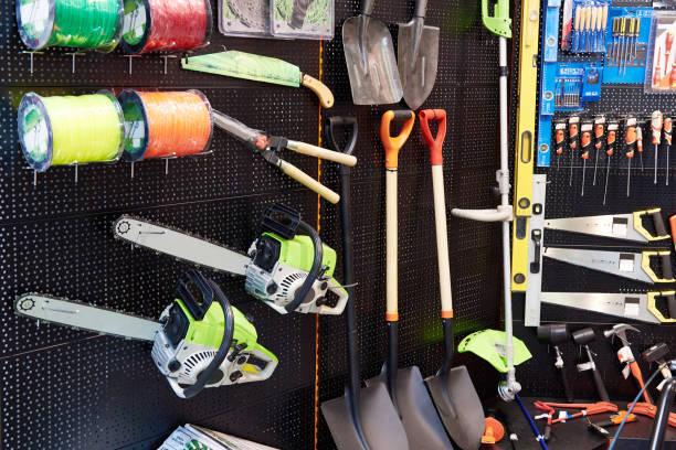 Shop of garden equipment stock photo