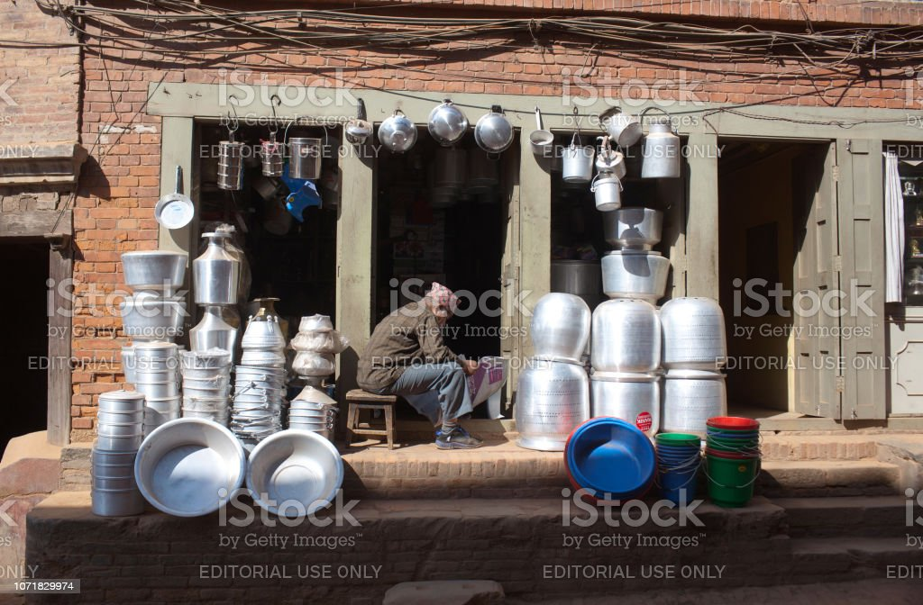 Shop of kitchenware and utensils in Bhaktapur, Nepal stock photo