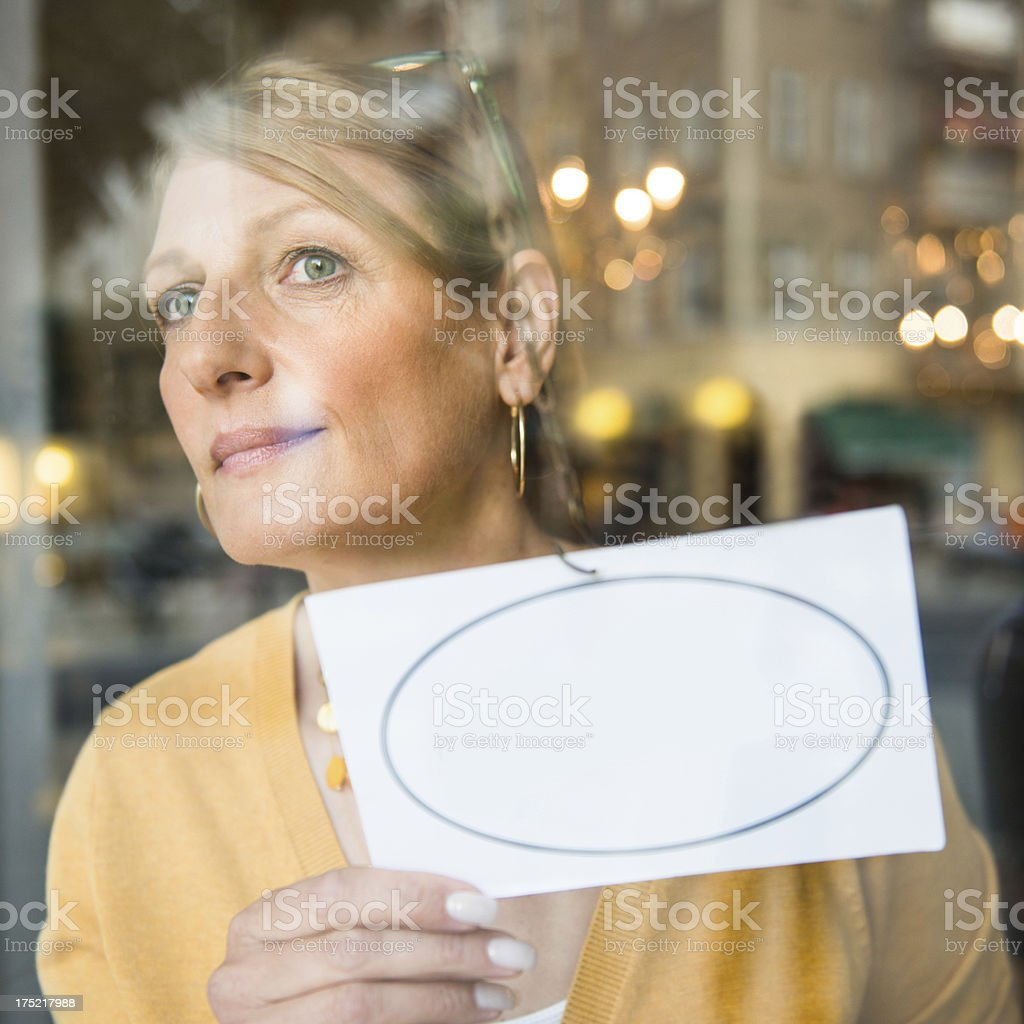 Shop Owner With Blank Sign stock photo