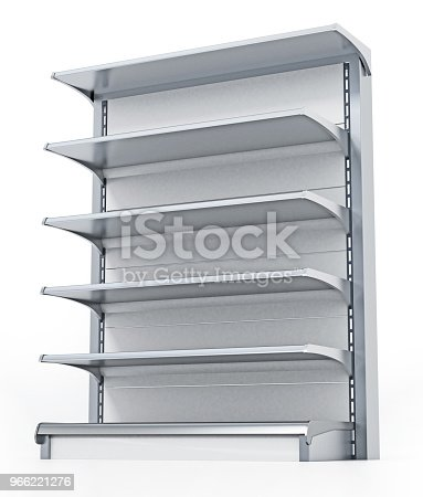 Empty shop shelf isolated on white.