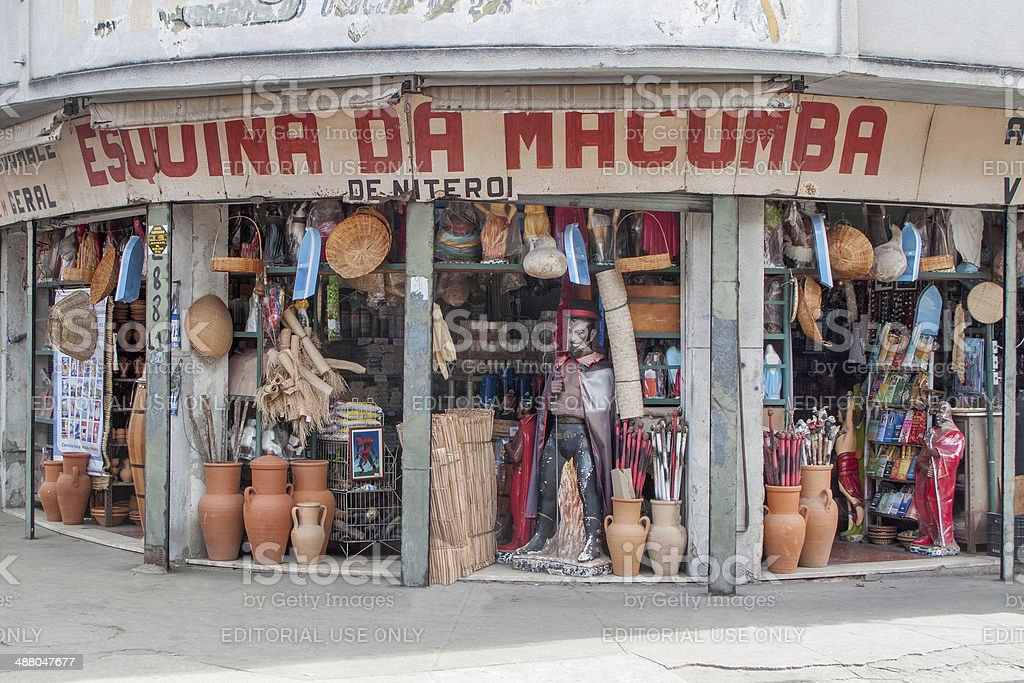 Shop specialized in afro-brazilian religious objects stock photo