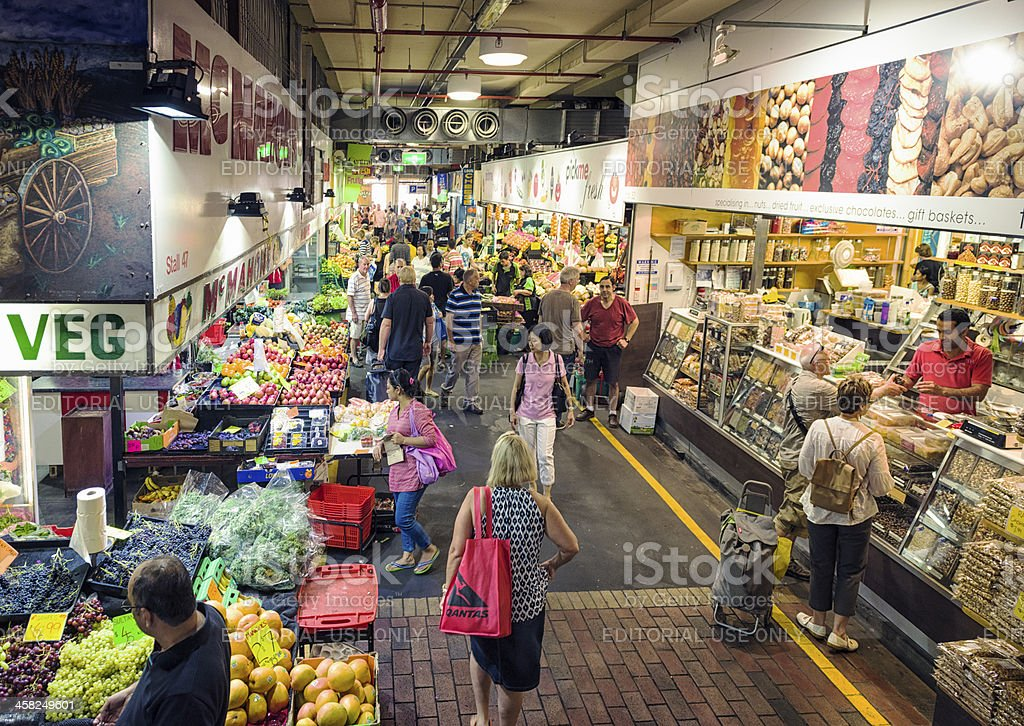 Shop Stalls within Adelaide Central Market stock photo
