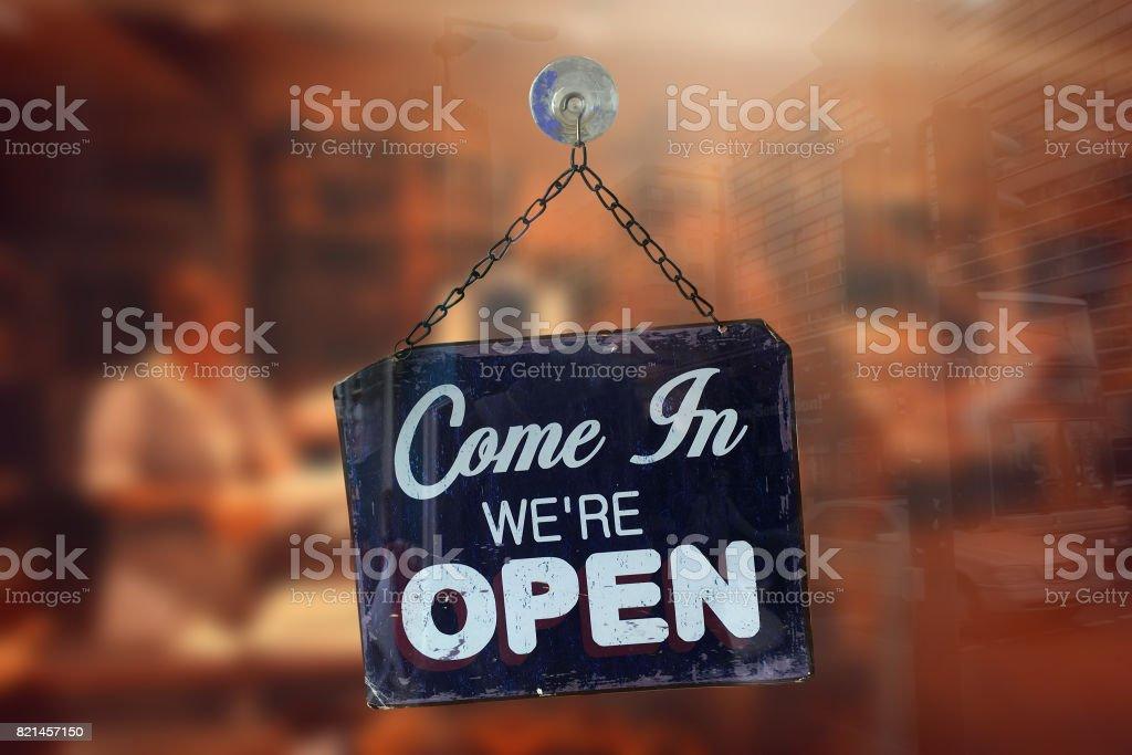 Shop store entrance open sign stock photo