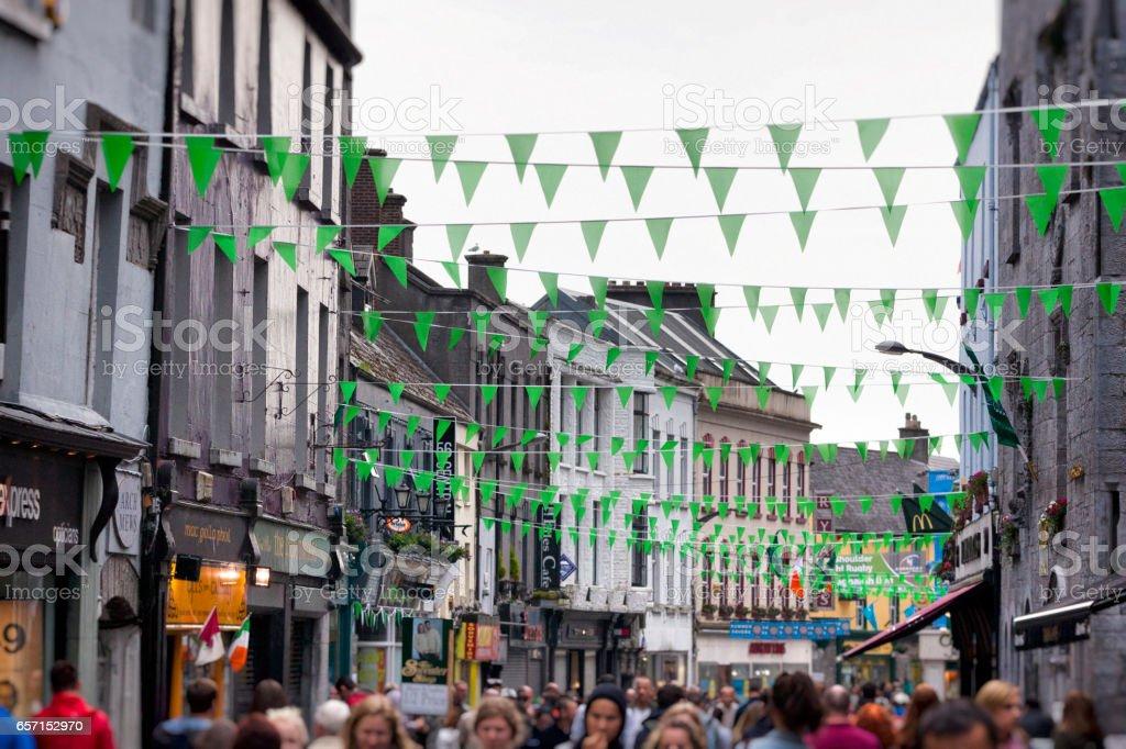 Shop Street in Galway, Ireland. stock photo