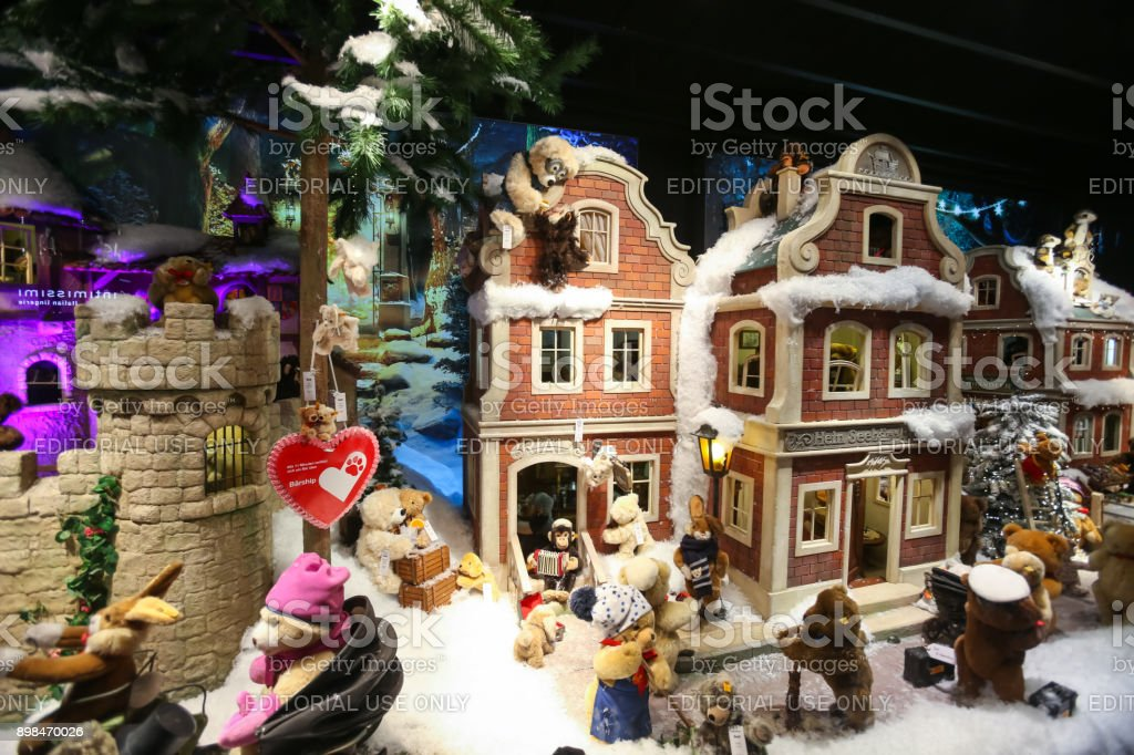 Shop window decorated with toys stock photo