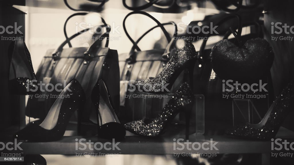 Shop Window for Selling Luxury Shoes and Bags stock photo