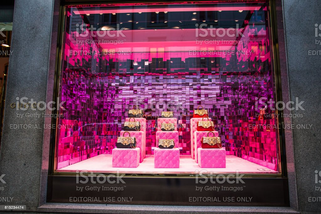 MILAN, ITALY, MARCH 28, 2017 - Shop window of a Gucci shop in Milan - Montenapoleone area, Italy. Gucci Bags Spring Summer 2017 Collection. stock photo